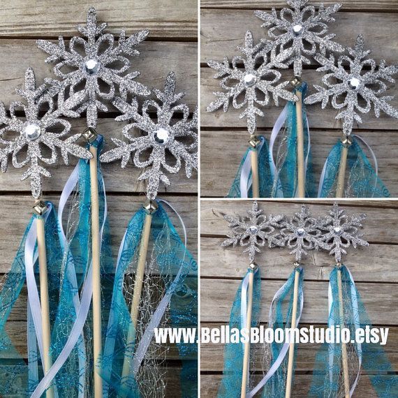 Frozen Wands Frozen favors Snowflake wands by BellasBloomStudio