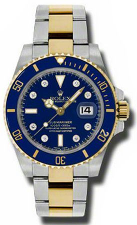 Awesome Rolex Men Gold Watch 116613 Rolex Submariner Blue Diamond Dial Mens Automatic Watch