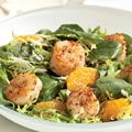 Spinach and Frisée Salad with Tangerines and Coriander-Crusted Scallops
