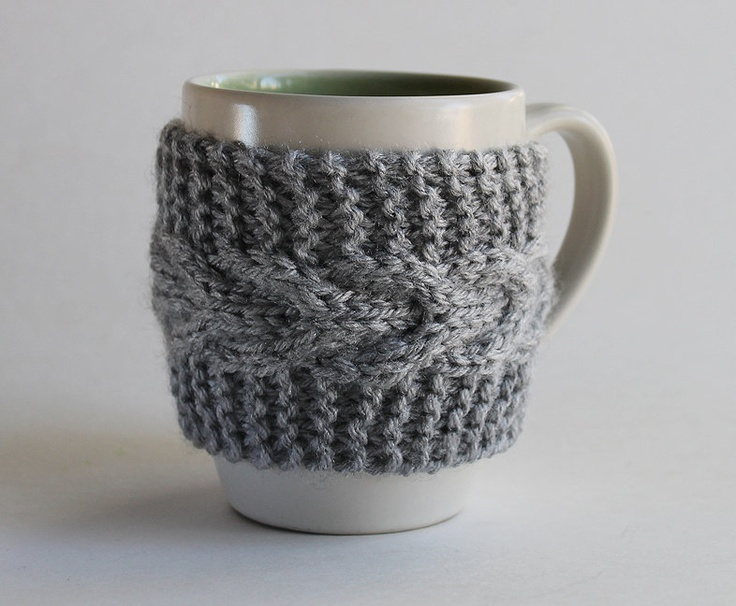 Pattern Knitted Cup Cozy.
