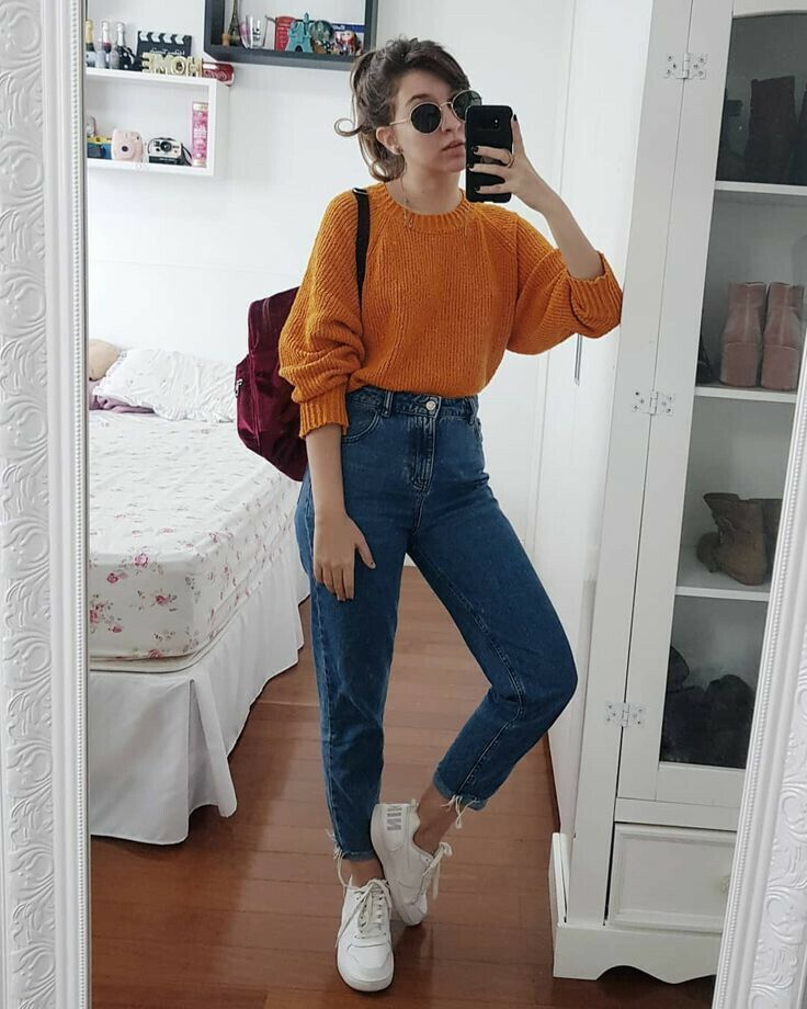 85 Pretty High Waisted Jeans Outfits For Every Body Type Retro Outfits Casual Outfits High Waisted Jeans Outfit