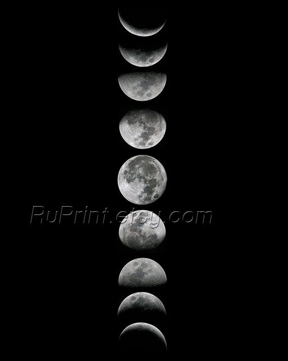 Moon phase art, Printable Moon poster, Moon phases wall art, Black and white wall prints, Moon art by ruPrint
