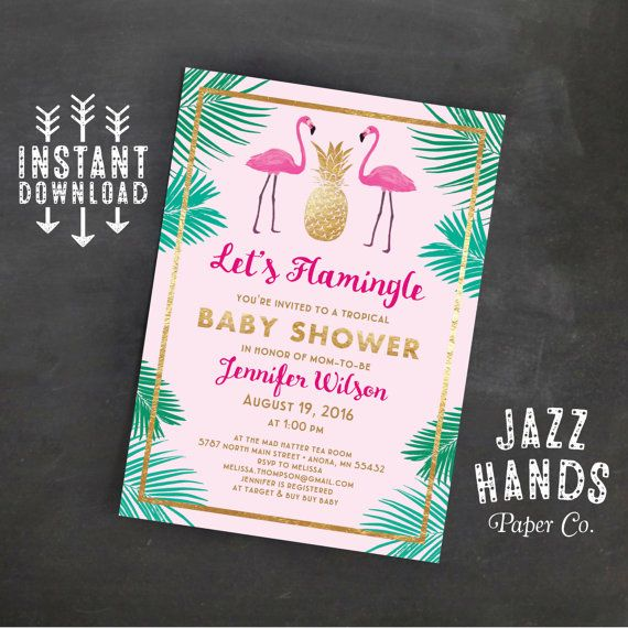 Let's Flamingle Baby Shower Invitation Template | Flamingo Party | Flamingos | Baby Shower Invitation | Pineapple | Palms | Flamingo Baby