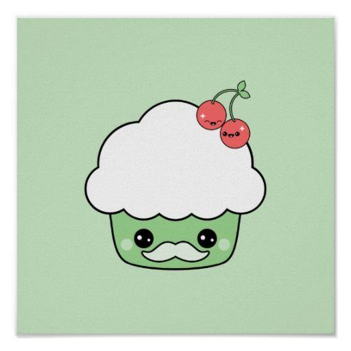 Cute Mustache Cupcake Posters
