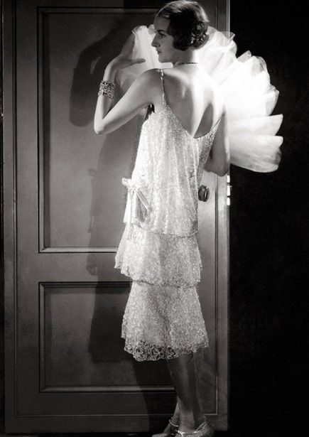 Chanel dress with Delman shoes and fan made of stiffened tulle, 1928.
