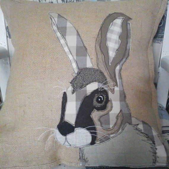 Brown Hare Patchwork Cushion by PaddyMacDesigns on Etsy