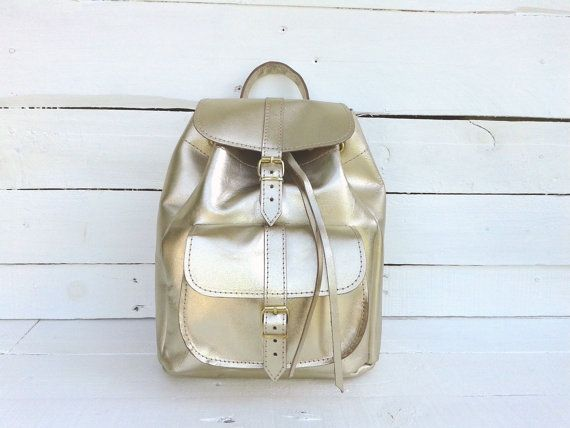 Backpack Handmade GOLDEN Leather Small one pocket by MagusLeather, €98.80