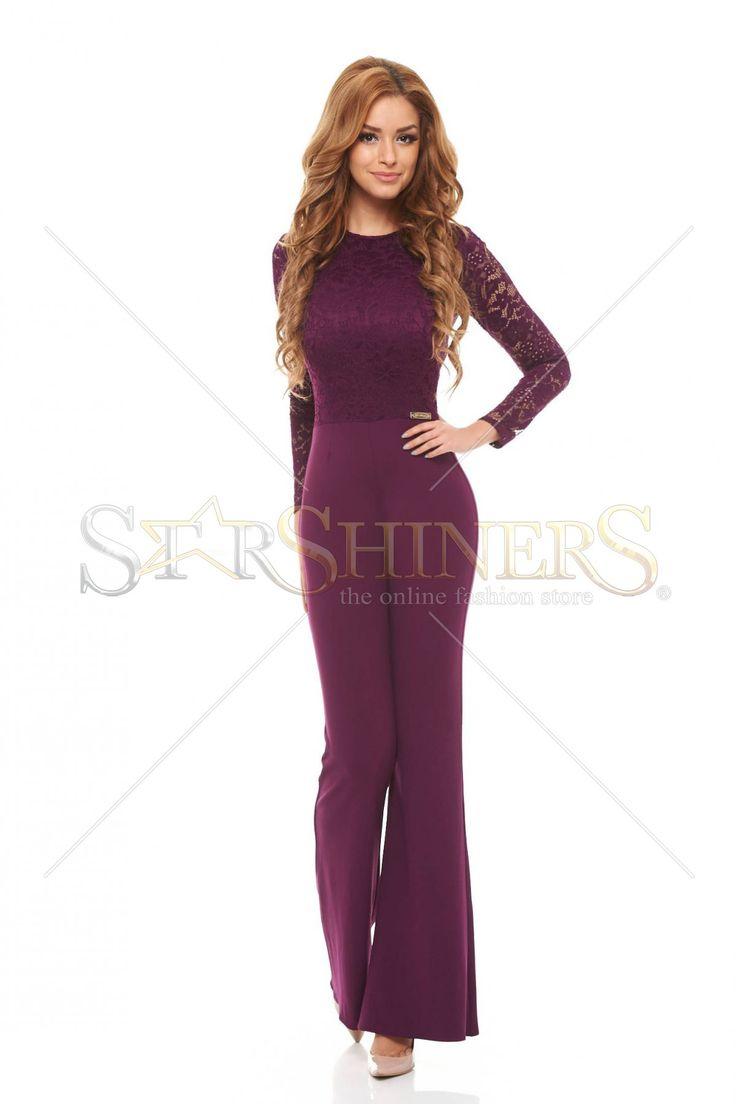 Salopeta LaDonna Aristocratic Lady Purple. O salopeta eleganta, cu dantela in partea de sus. Iti pune in valoare silueta si vei surprinsa de cat de bine iti vine! Nu ezita sa o porti la toate evenimentele speciale din viata ta si vei fi cea mai frumoasa din sala!