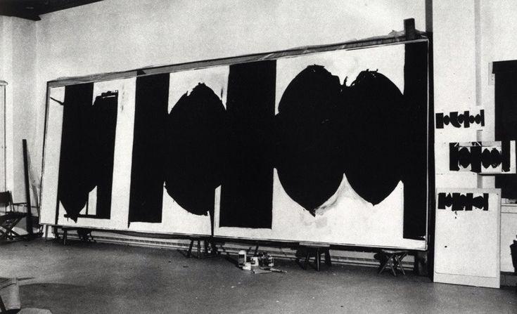 robert motherwell painting elegy of the spanish republic in progress at his new york studio