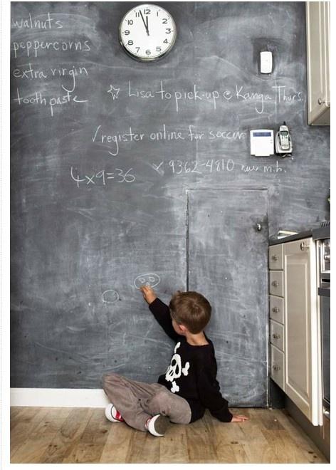 Krijtmuur, voor in bv een bijkeuken.  Handig als boodschappenlijst en todolijst, en voor de kinderen die kunnen tekenen onderaan.