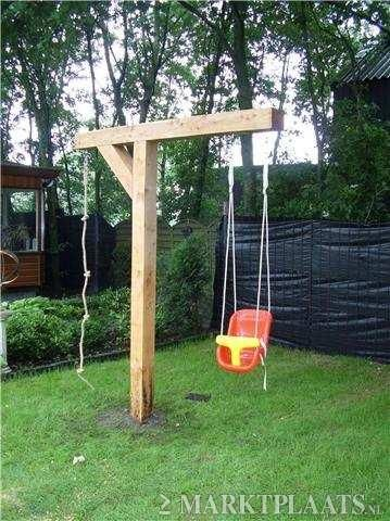 DIY - for a small size garden a swing and climbing robe