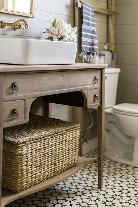 Natural romantic vintage boho guest bathroom makeover