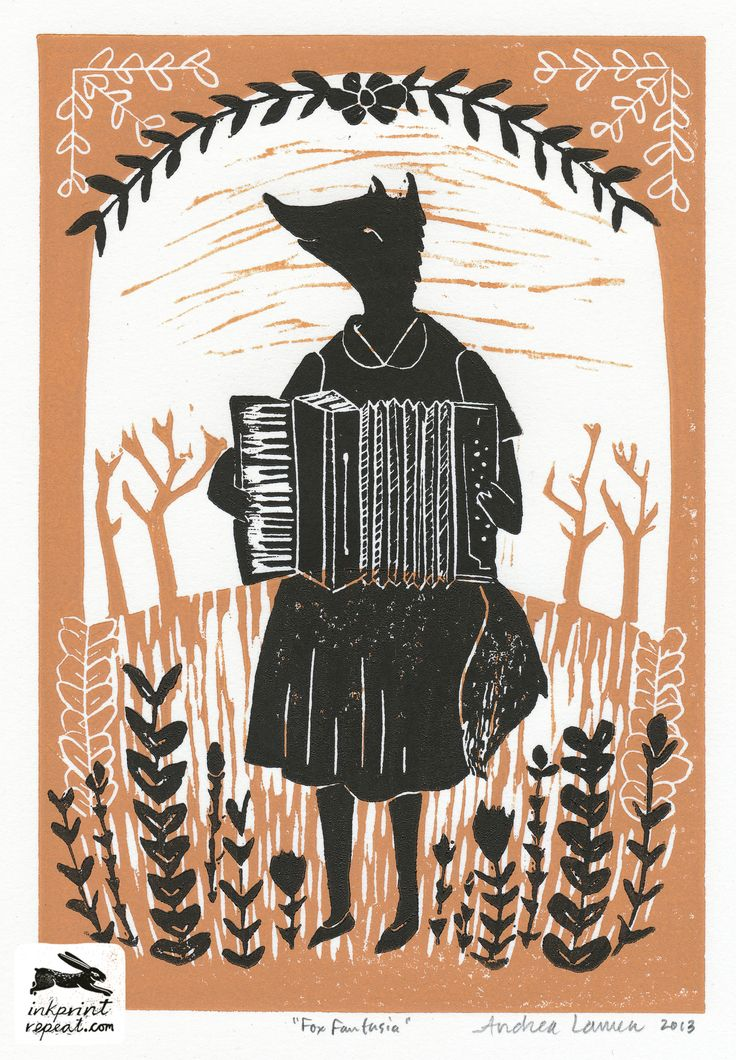 pattern, linocut, print pattern design, linocut, fox, music, printmaking, printmaker, illustration