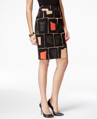 Nine West Geo-Print Pencil Skirt