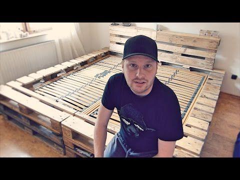 Doppelbett selber bauen (aus Europaletten) - YouTube