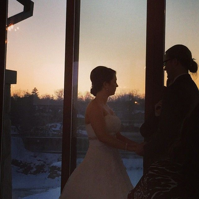 Exchanging vows to the setting sun.
