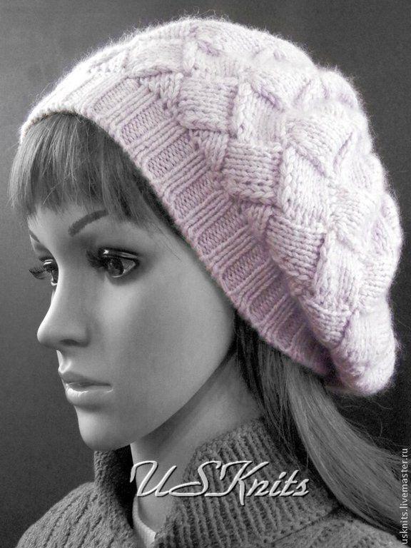 Купить Вязаная шапка-берет в технике энтрелак из пуха норки - шапка вязаная, шапка женская