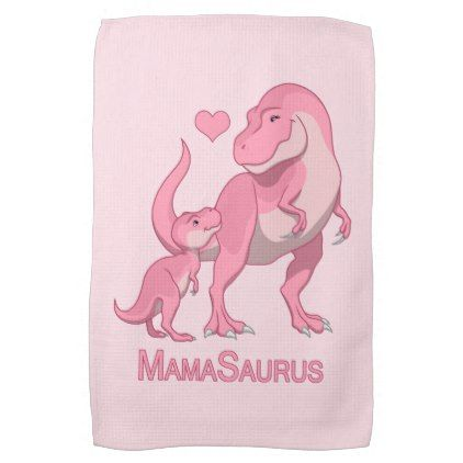 MamaSaurus T-Rex and Baby Boy Dinosaurs Kitchen Towel - kitchen gifts diy ideas decor special unique individual customized