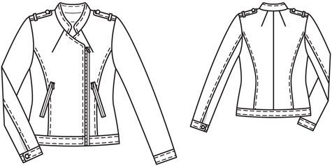 Decent jacket pattern base for a motorcycle jacket from BurdaStyle, and one designed for a lighter fabric, which I kind of like. I would probably stick another zipper pocket or two on it, but I think the pattern looks like it would allow for such modifications :)
