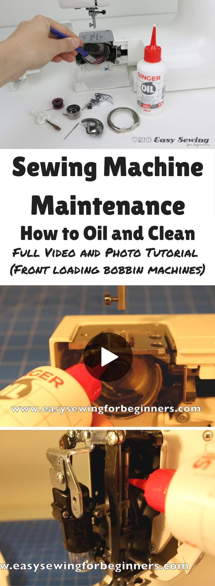 Sewing Machine Maintenance How to Oil and Clean video tutorial for front loading bobbin sewing machines