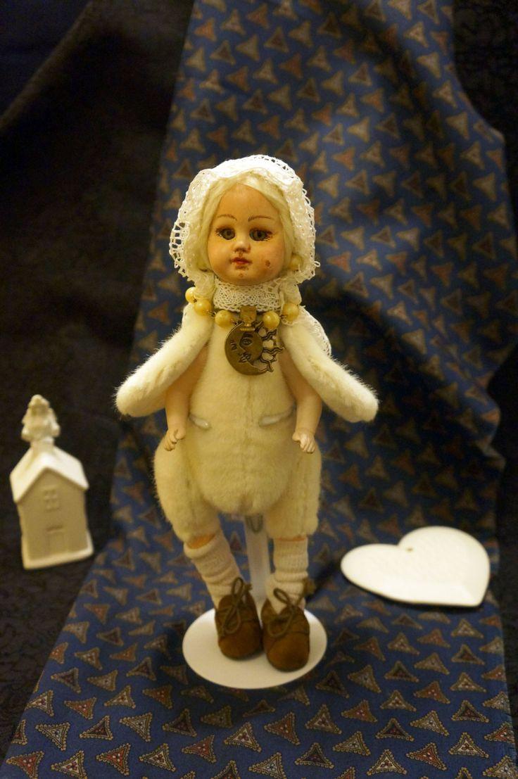 Art Bird Doll Teddy OOAK - Mixed Media Art Doll - Teddy Doll Bear - antique doll - Antique collectible porcelain doll by RussianshawlRustic on Etsy
