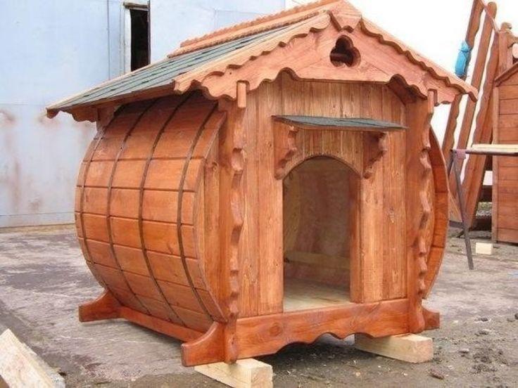 оригинальная будка из бочки