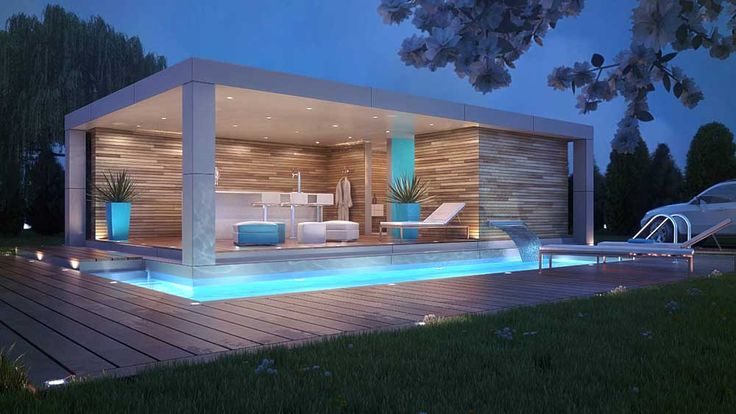 Pool and Pool House Designs with brick wall modern style