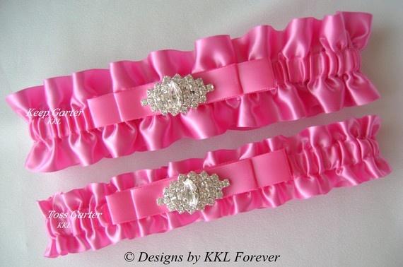 Hot Pink Wedding Garter from Etsy