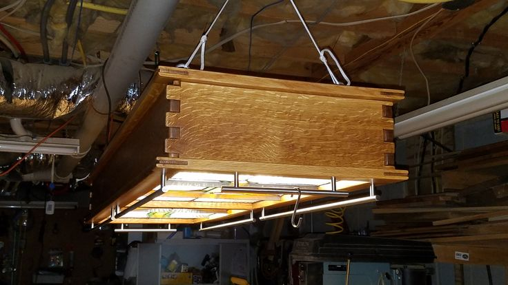 Craftsman Hanging Pot Rack with Stained Glass and Light