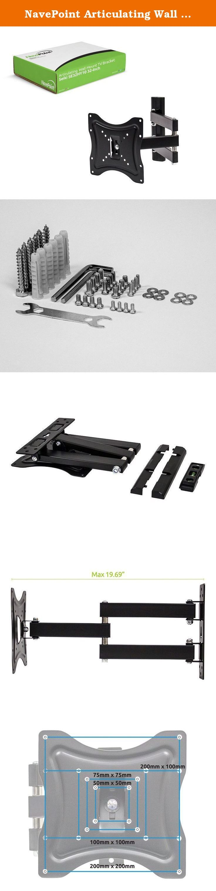 NavePoint Articulating Wall Mount TV Bracket for Seiki SE32HY10 32-Inch Flat Screen TV. This full motion articulating wall mount is perfect for mounting your Seiki SE32HY10 32-Inch to the wall. It has up to a 15 degree up and down tilt and 4 degree rotation allowing you to position the screen perfectly for your application. It is easy to install and comes with all of the necessary hardware.