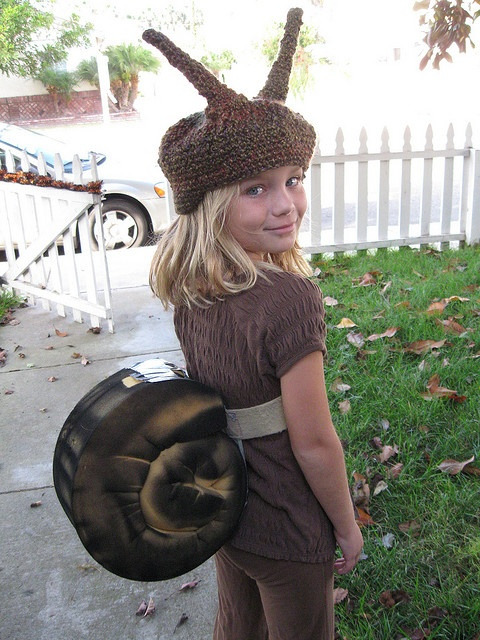 """Daughter is highly entertained that when you search """"snail costume,"""" she's one of the top results. We made this costume in 2009."""