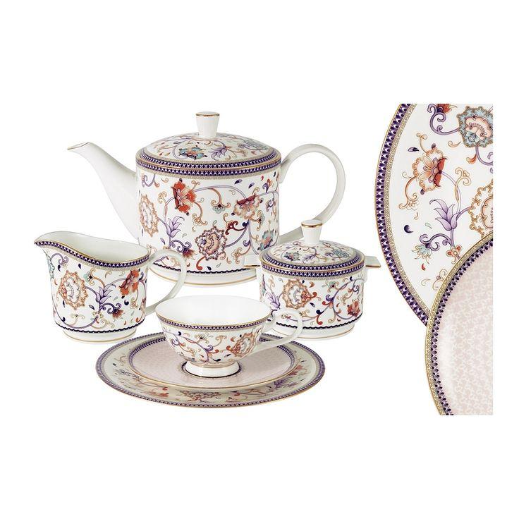 Чайный сервиз из костяного фарфора на 6 персон «Королева Анна» (Emily)      Бренд: Anna Lafarg;   Страна производства: Китай;   Материал: костяной фарфор;   Количество персон: 6;   Количество предметов: 21 шт;   Объем чашки: 200 мл;   Объем чайника: 1 л;   Объем молочника: 275 мл;   Объем сахарницы: 250 мл;         Чайный сервиз из костяного фарфора на 6 персон «Королева Анна» состоитиз:         6 чашек,      6 блюдец,      6 тарелок,      1 заварочный чайник,      1…