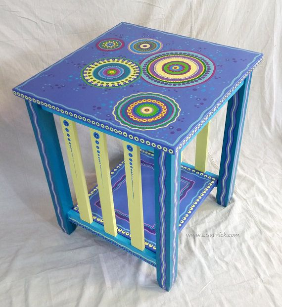 SOLD sample of CUSTOM WORK-Custom Painted End Table by LisaFrick