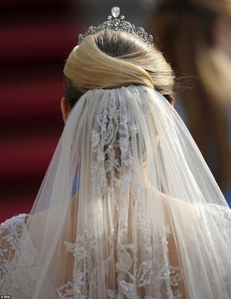 Stephanie, Hereditary Grand Duchess of Luxembourg...wedding hair with tiara...lovely wedding veil