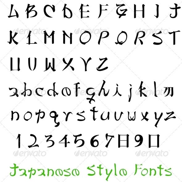 Alphabet  #GraphicRiver         alphabet. Letters of the alphabet Japanese Style.     Created: 5April13 GraphicsFilesIncluded:…