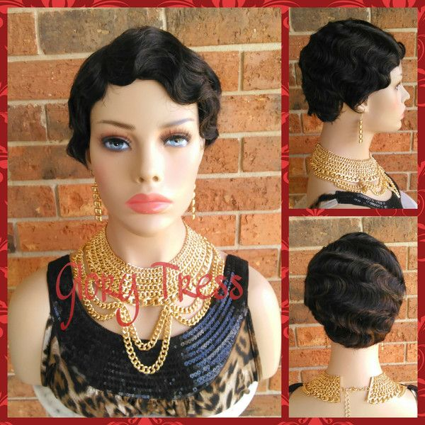 On Short Finger Wave Full Wig 100 Remy Brazilian Human Hair 1920s... ($95) ❤ liked on Polyvore featuring beauty products, haircare, hair styling tools, bath & beauty, black, hair care, wigs, flat iron, straightening iron and straight iron