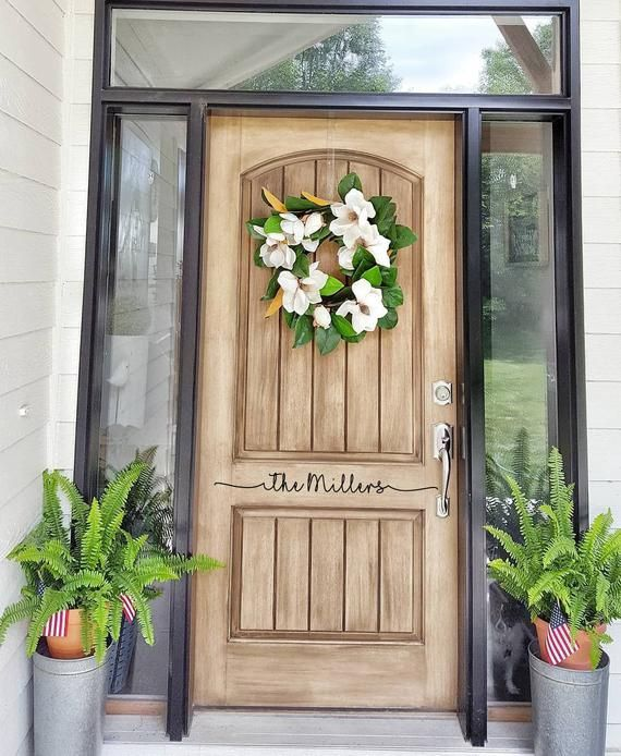 Front Door Last Name Decal Cute Last Name Greeting For Home Etsy Painted Front Doors Stained Front Door Front Door Decal