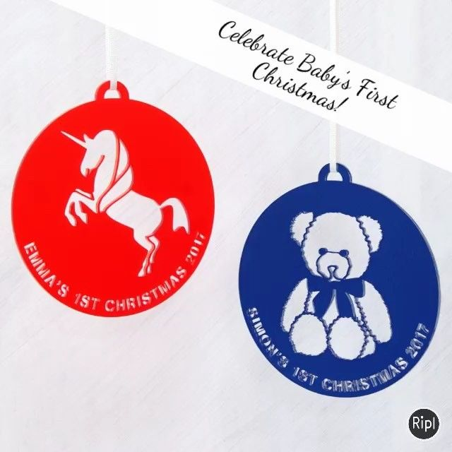 Celebrate baby's first Christmas with one of our personalised acrylic or leather Christmas tree decorations! VISIT OUR SHOP! #babysfirstchristmas #newbaby #newparents #parentstobe #christmas #christmastree #christmasdecorations #christmasiscoming #deckthehalls #leather #acrylic #unicorn #teddybear