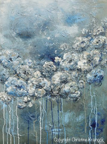 """Her Silent Strength"" -Select Paper Print or Canvas Print of Original Large Abstract Blue Grey Floral Painting. Modern, contemporary flowers peonies roses created by brush & palette knife, coastal, fi"