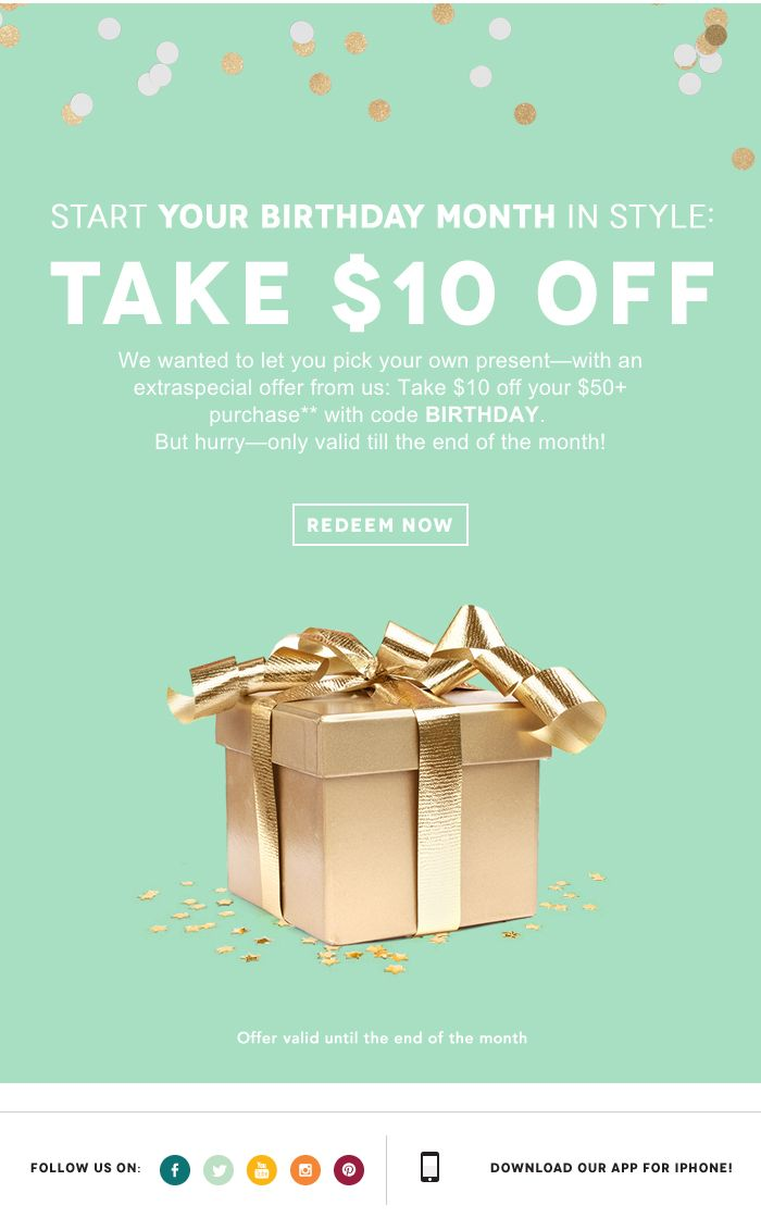 birthday email example from Birchbox