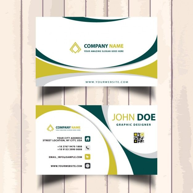 Business card decorated with yellow and green wavy shapes Free Vector
