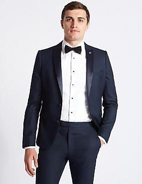 Navy Textured Modern Slim Fit Tuxedo Suit