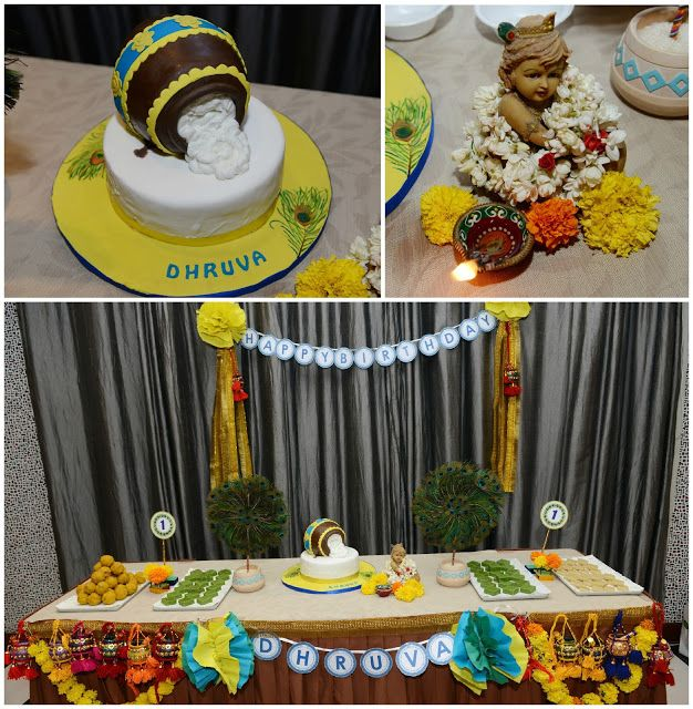 Bringing on the 30s: Little Krishna Themed First Birthday Party Cake and the sweet stand