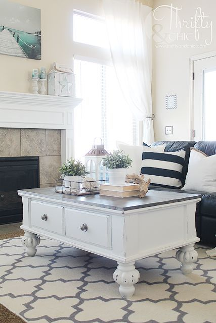 Farmhouse Style Coffee Table Makeover {Before and After} (Thrifty and Chic)