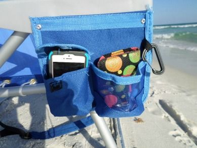 Side pockets - one with a velcro flap and the other an open pocket provide places to put cell phones, wallets or keys so they don't get lost or end up in the sand.