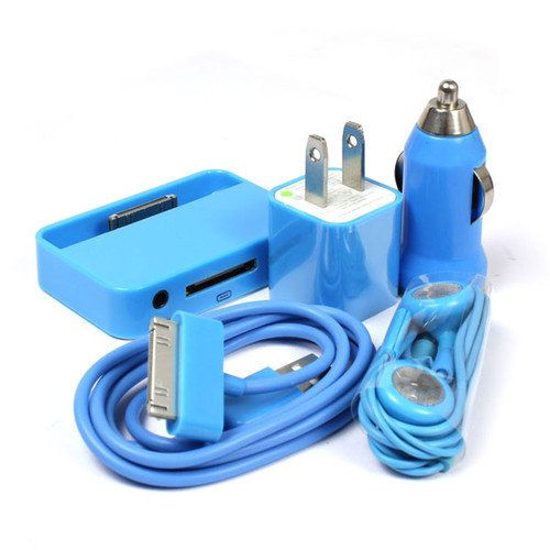 clee08's save of BLUE USB Data Cable+Car Charger+US Charger+Headset+Dock For iPod iPhone 3 4G 4S on Wanelo
