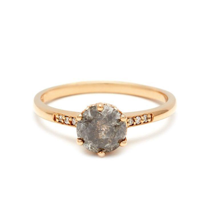 Hazeline Solitaire Ring - Yellow Gold & Grey Diamond