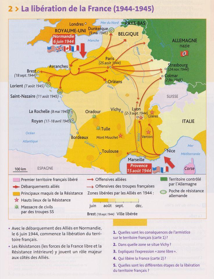 PBacPro-H4 : Carte de la libération du territoire français à la fin de la Seconde Guerre mondiale. (Source : votre manuel Hachette technique)