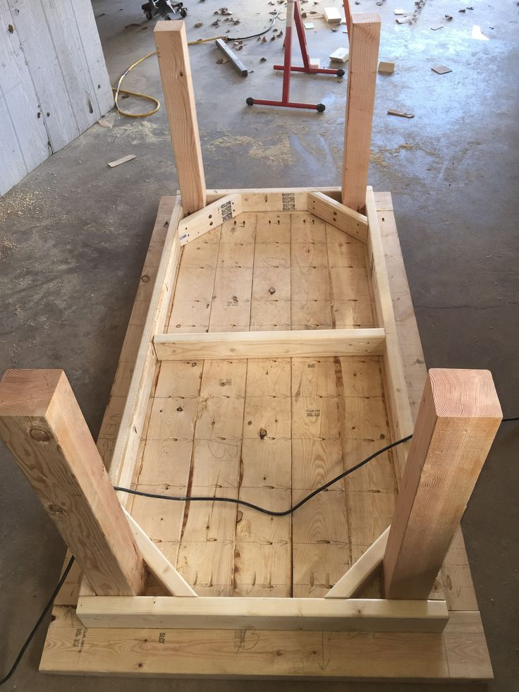 Note the 4x4 legs are plenty strong to support this 4x6 table without the typical bracing on the lower legs. The 2x4 braces have two 3.5 inch structural screws.