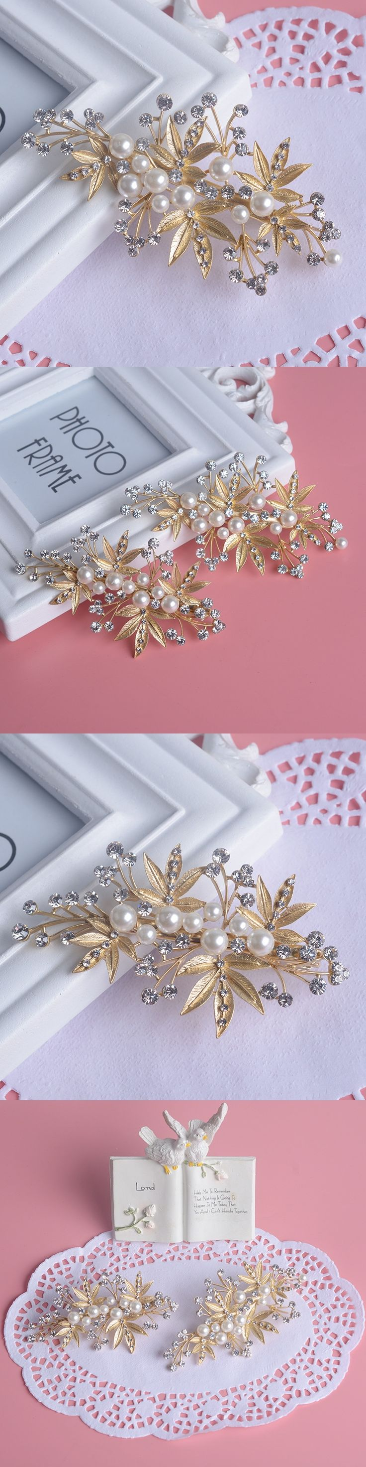 Korean Bride Crystal Jewelry Pearl Leaf Headwear Dumb Golden Corolla Hairpin Princess Bridal Hairclips Wedding Hair Accessories